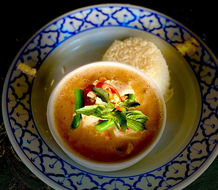 Thai Red curry chicken and Jasmine rice.